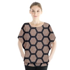 Hexagon2 Black Marble & Brown Colored Pencil (r) Batwing Chiffon Blouse