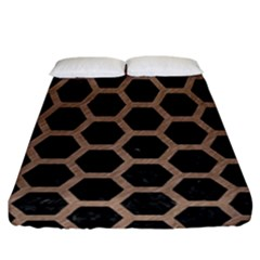 Hexagon2 Black Marble & Brown Colored Pencil Fitted Sheet (california King Size) by trendistuff