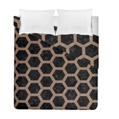 Hexagon2 Black Marble & Brown Colored Pencil Duvet Cover Double Side (full/ Double Size) by trendistuff