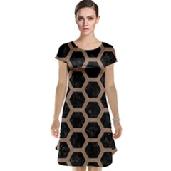 Hexagon2 Black Marble & Brown Colored Pencil Cap Sleeve Nightdress by trendistuff