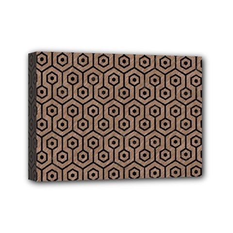 Hexagon1 Black Marble & Brown Colored Pencil (r) Mini Canvas 7  X 5  (stretched) by trendistuff