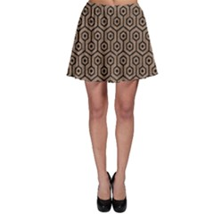Hexagon1 Black Marble & Brown Colored Pencil (r) Skater Skirt by trendistuff