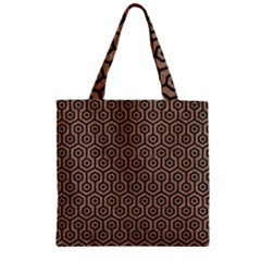 Hexagon1 Black Marble & Brown Colored Pencil (r) Zipper Grocery Tote Bag by trendistuff