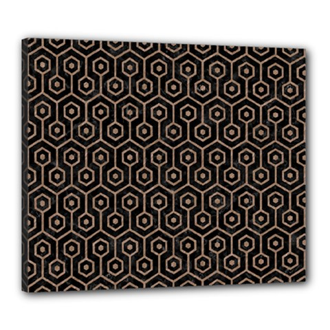 Hexagon1 Black Marble & Brown Colored Pencil Canvas 24  X 20  (stretched) by trendistuff