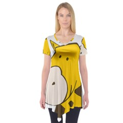 Illustrain Giraffe Face Animals Short Sleeve Tunic  by Mariart