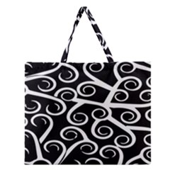 Koru Vector Background Black Zipper Large Tote Bag