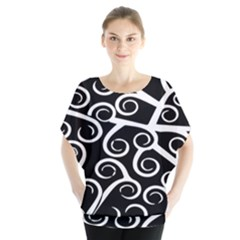 Koru Vector Background Black Blouse by Mariart