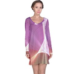 Light Means Net Pink Rainbow Waves Wave Chevron Long Sleeve Nightdress by Mariart