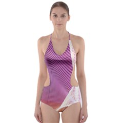 Light Means Net Pink Rainbow Waves Wave Chevron Cut Out One Piece Swimsuit by Mariart