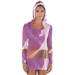 Light Means Net Pink Rainbow Waves Wave Chevron Women s Long Sleeve Hooded T Shirt