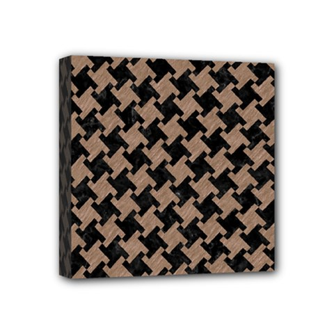 Houndstooth2 Black Marble & Brown Colored Pencil Mini Canvas 4  X 4  (stretched)