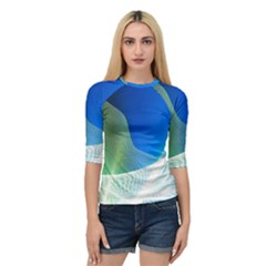 Light Means Net Pink Rainbow Waves Wave Chevron Green Blue Quarter Sleeve Tee by Mariart