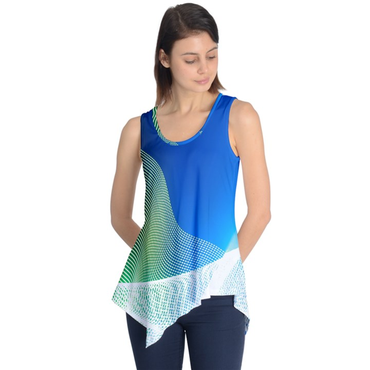 Light Means Net Pink Rainbow Waves Wave Chevron Green Blue Sleeveless Tunic