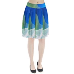 Light Means Net Pink Rainbow Waves Wave Chevron Green Blue Pleated Skirt