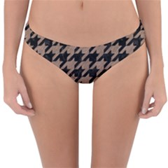 Houndstooth1 Black Marble & Brown Colored Pencil Reversible Hipster Bikini Bottoms