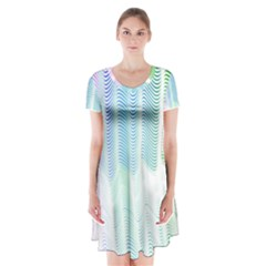 Light Means Net Pink Rainbow Waves Wave Chevron Green Short Sleeve V Neck Flare Dress by Mariart