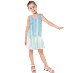Light Means Net Pink Rainbow Waves Wave Chevron Green Kids  Sleeveless Dress by Mariart