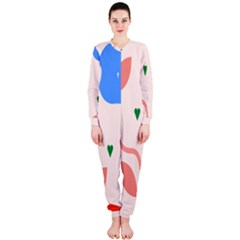 Lip Sexy Flower Tulip Heart Pink Red Blue Green Love Onepiece Jumpsuit (ladies)