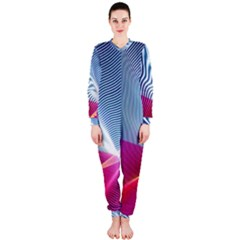 Light Means Net Pink Rainbow Waves Wave Chevron Red Onepiece Jumpsuit (ladies)