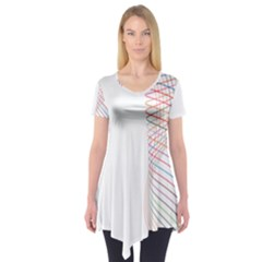 Line Wave Rainbow Short Sleeve Tunic  by Mariart