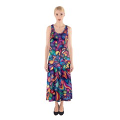 Moreau Rainbow Paint Sleeveless Maxi Dress