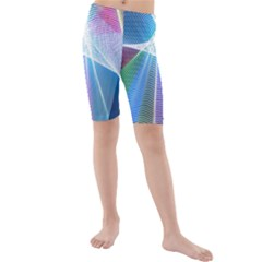 Light Means Net Pink Rainbow Waves Wave Chevron Green Blue Sky Kids  Mid Length Swim Shorts