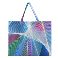 Light Means Net Pink Rainbow Waves Wave Chevron Green Blue Sky Zipper Large Tote Bag by Mariart
