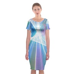 Light Means Net Pink Rainbow Waves Wave Chevron Green Blue Sky Classic Short Sleeve Midi Dress by Mariart