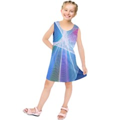 Light Means Net Pink Rainbow Waves Wave Chevron Green Blue Sky Kids  Tunic Dress by Mariart