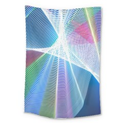 Light Means Net Pink Rainbow Waves Wave Chevron Green Blue Sky Large Tapestry by Mariart
