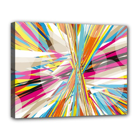 Illustration Material Collection Line Rainbow Polkadot Polka Canvas 14  x 11