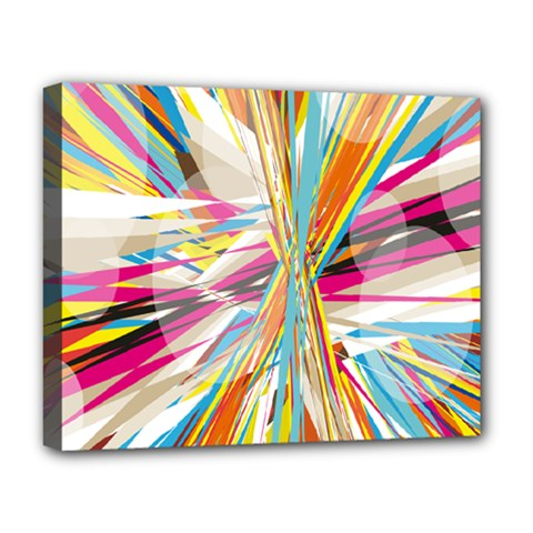 Illustration Material Collection Line Rainbow Polkadot Polka Deluxe Canvas 20  x 16