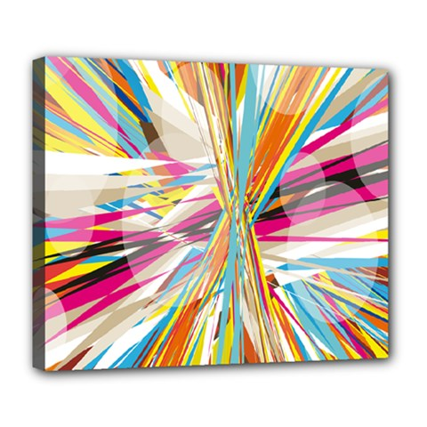 Illustration Material Collection Line Rainbow Polkadot Polka Deluxe Canvas 24  x 20