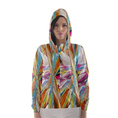 Illustration Material Collection Line Rainbow Polkadot Polka Hooded Wind Breaker (Women)
