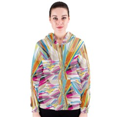 Illustration Material Collection Line Rainbow Polkadot Polka Women s Zipper Hoodie