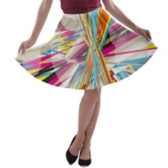 Illustration Material Collection Line Rainbow Polkadot Polka A-line Skater Skirt