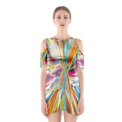 Illustration Material Collection Line Rainbow Polkadot Polka Shoulder Cutout One Piece