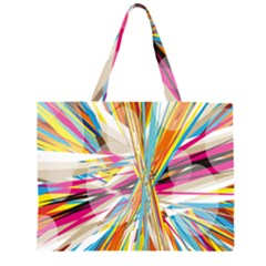Illustration Material Collection Line Rainbow Polkadot Polka Zipper Large Tote Bag