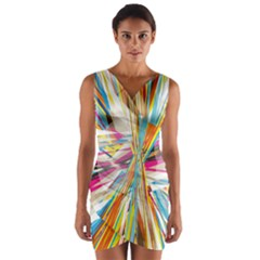Illustration Material Collection Line Rainbow Polkadot Polka Wrap Front Bodycon Dress by Mariart