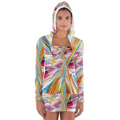 Illustration Material Collection Line Rainbow Polkadot Polka Women s Long Sleeve Hooded T-shirt