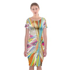 Illustration Material Collection Line Rainbow Polkadot Polka Classic Short Sleeve Midi Dress