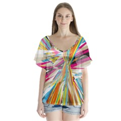 Illustration Material Collection Line Rainbow Polkadot Polka Flutter Sleeve Top