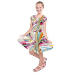 Illustration Material Collection Line Rainbow Polkadot Polka Kids  Short Sleeve Dress