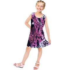 Octopus Colorful Cartoon Octopuses Pattern Black Pink Kids  Tunic Dress by Mariart