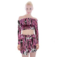 Octopus Colorful Cartoon Octopuses Pattern Black Pink Off Shoulder Top With Skirt Set by Mariart