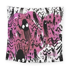 Octopus Colorful Cartoon Octopuses Pattern Black Pink Square Tapestry (large) by Mariart