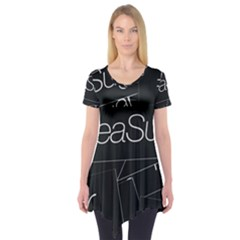 Sea Sugar Line Black Short Sleeve Tunic