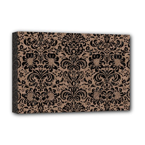 Damask2 Black Marble & Brown Colored Pencil (r) Deluxe Canvas 18  X 12  (stretched) by trendistuff