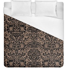 Damask2 Black Marble & Brown Colored Pencil (r) Duvet Cover (king Size) by trendistuff