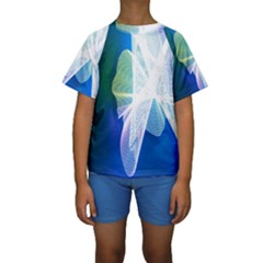Net Sea Blue Sky Waves Wave Chevron Kids  Short Sleeve Swimwear by Mariart